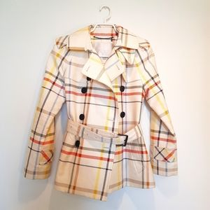 Coach 100% Cotton Tattersall Trench Jacket
